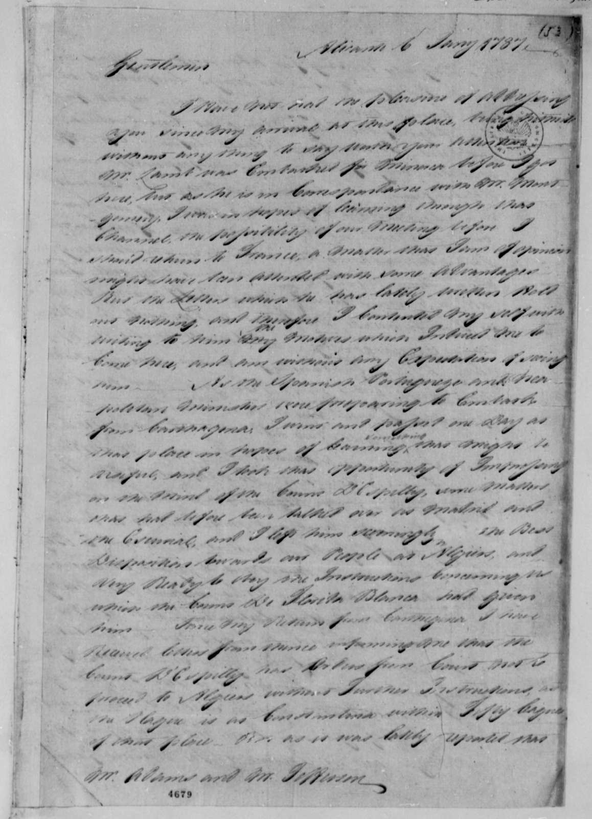 Thomas Barclay to American Peace Commissioners, January 6, 1787