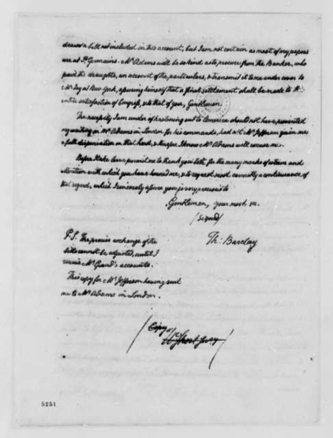 Thomas Barclay to American Peace Commissioners, July 13, 1787, with Financial Account; with Copy