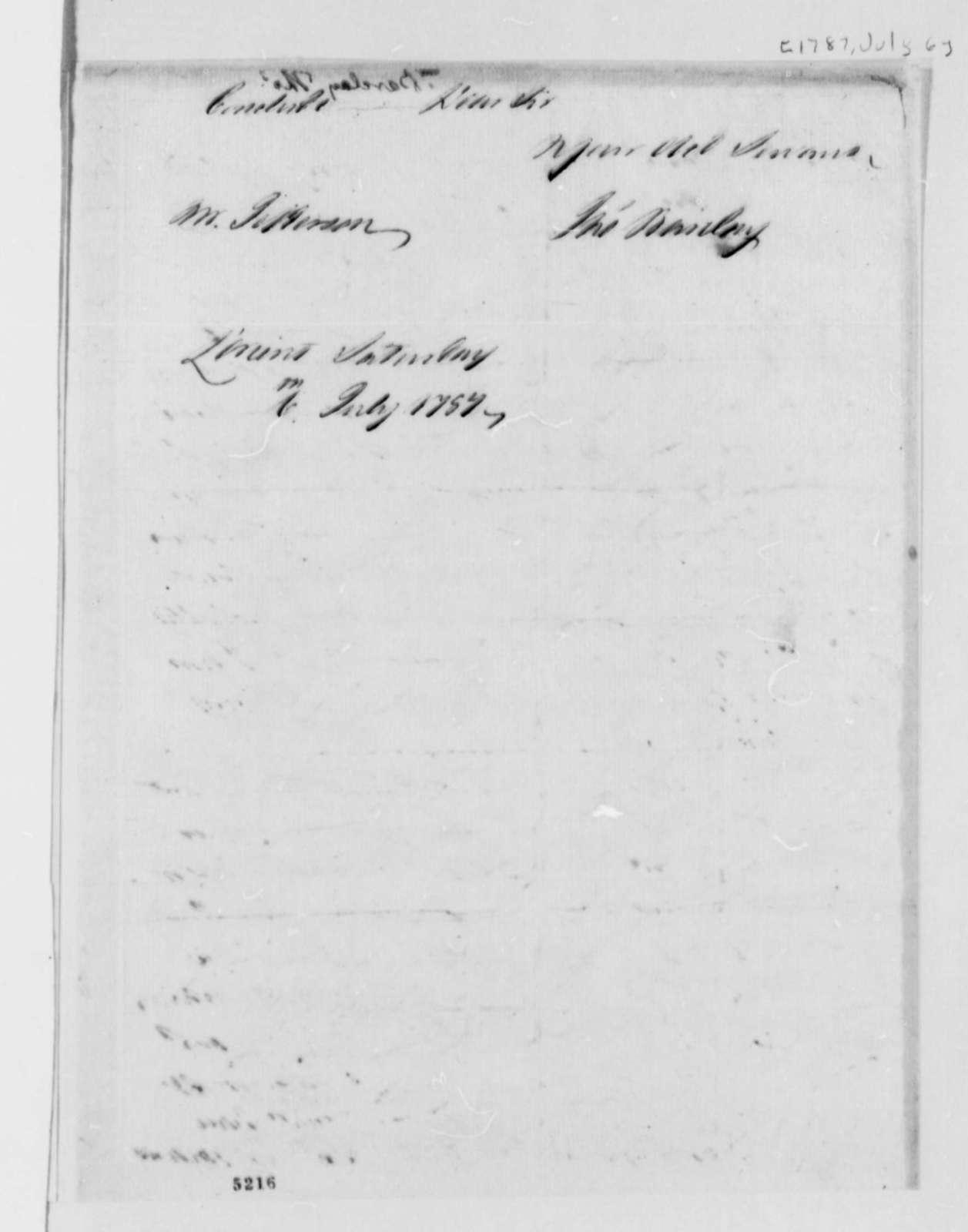 Thomas Barclay to Thomas Jefferson, July 6, 1787