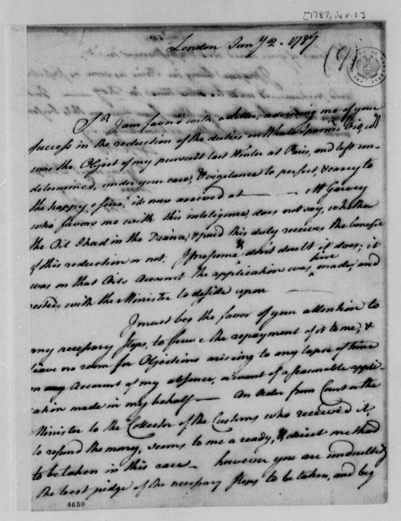 Thomas Boylston to Thomas Jefferson, January 2, 1787