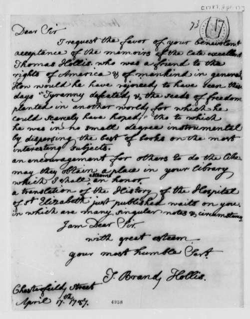 Thomas Brand Hollis to Thomas Jefferson, April 17, 1787