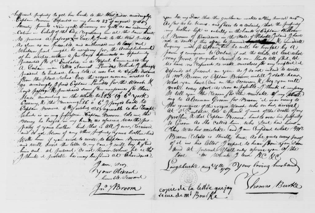 Thomas Burke to Mrs. Thomas Burke, August 4, 1787. Including Transcription of May 16th Letter from J. Broome.