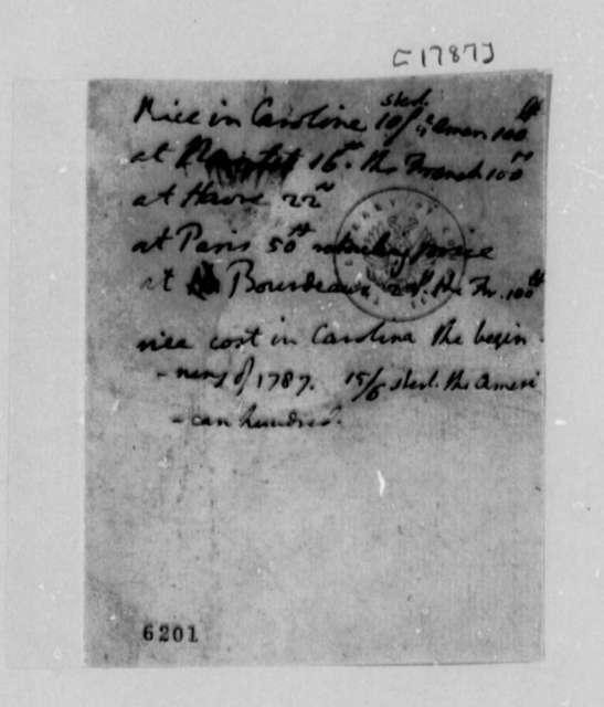Thomas Jefferson, 1787, List of Rice Prices