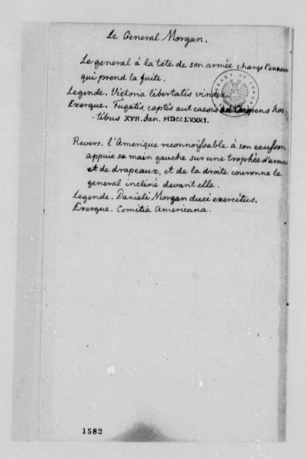 Thomas Jefferson, 1787, Memorandum on Medals for George Washington, et al; in English and French
