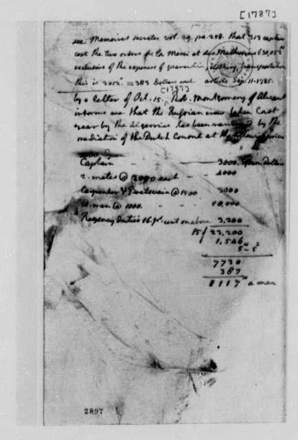 Thomas Jefferson, 1787, Memorandum on Ransoms for American Captives in Algiers