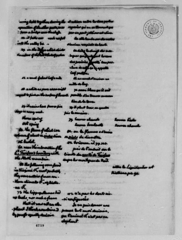 """Thomas Jefferson, January 19, 1787, Corrections of Andre Morellet's Translation of """"Notes on Virginia"""""""