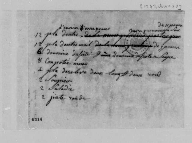 Thomas Jefferson, January 20, 1787, List of Chinaware to be Purchased by William Macarty; in French