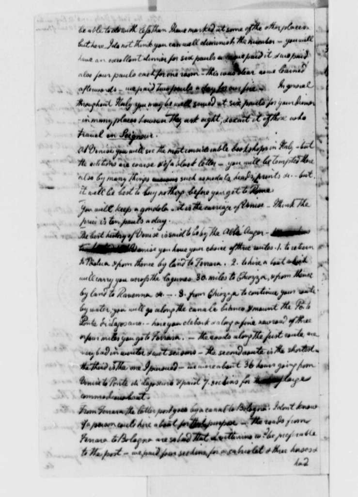 Thomas Jefferson, March-June 1787, Notes on Tour of Italy