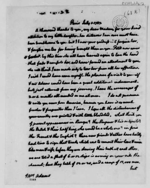 Thomas Jefferson to Abigail Smith Adams, July 1, 1787
