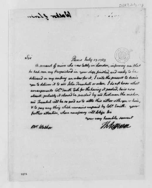 Thomas Jefferson to Adam Walker, July 17, 1787