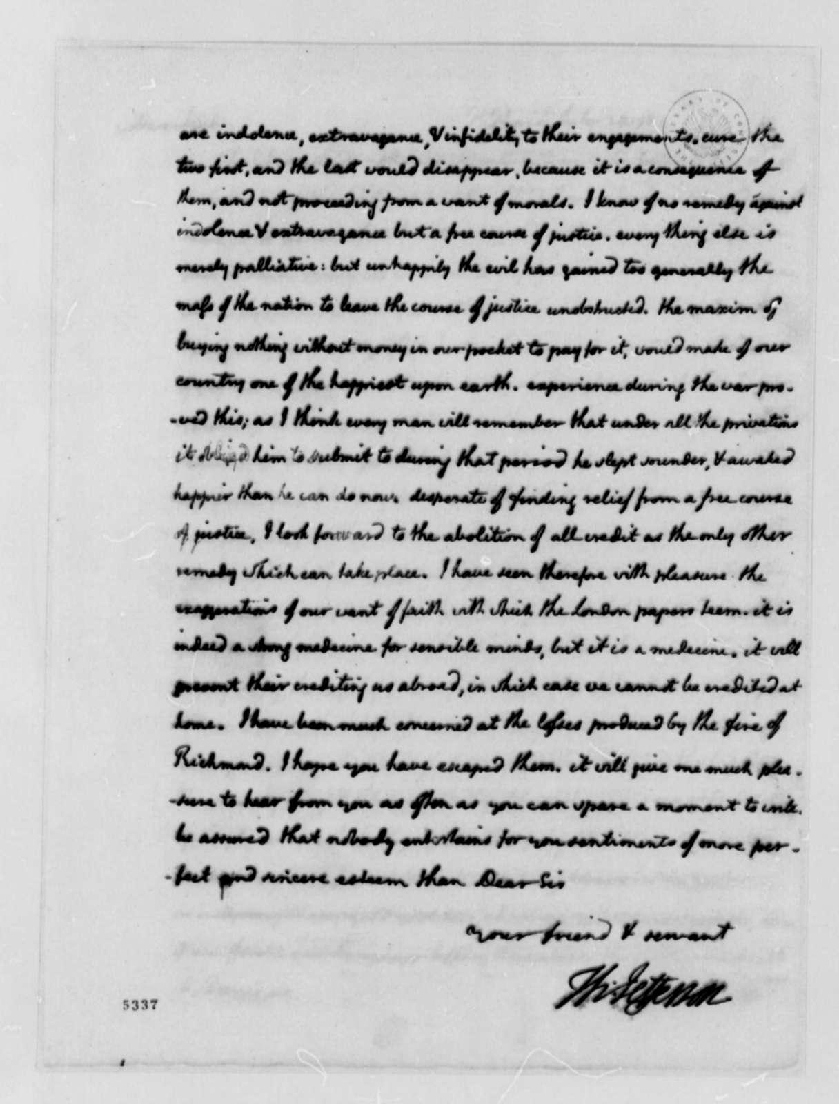 Thomas Jefferson to Alexander Donald, July 28, 1787