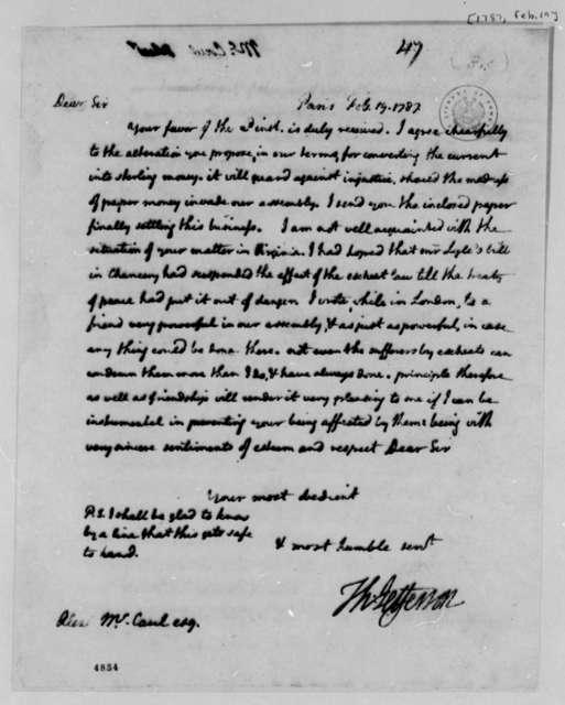 Thomas Jefferson to Alexander McCaul, February 19, 1787