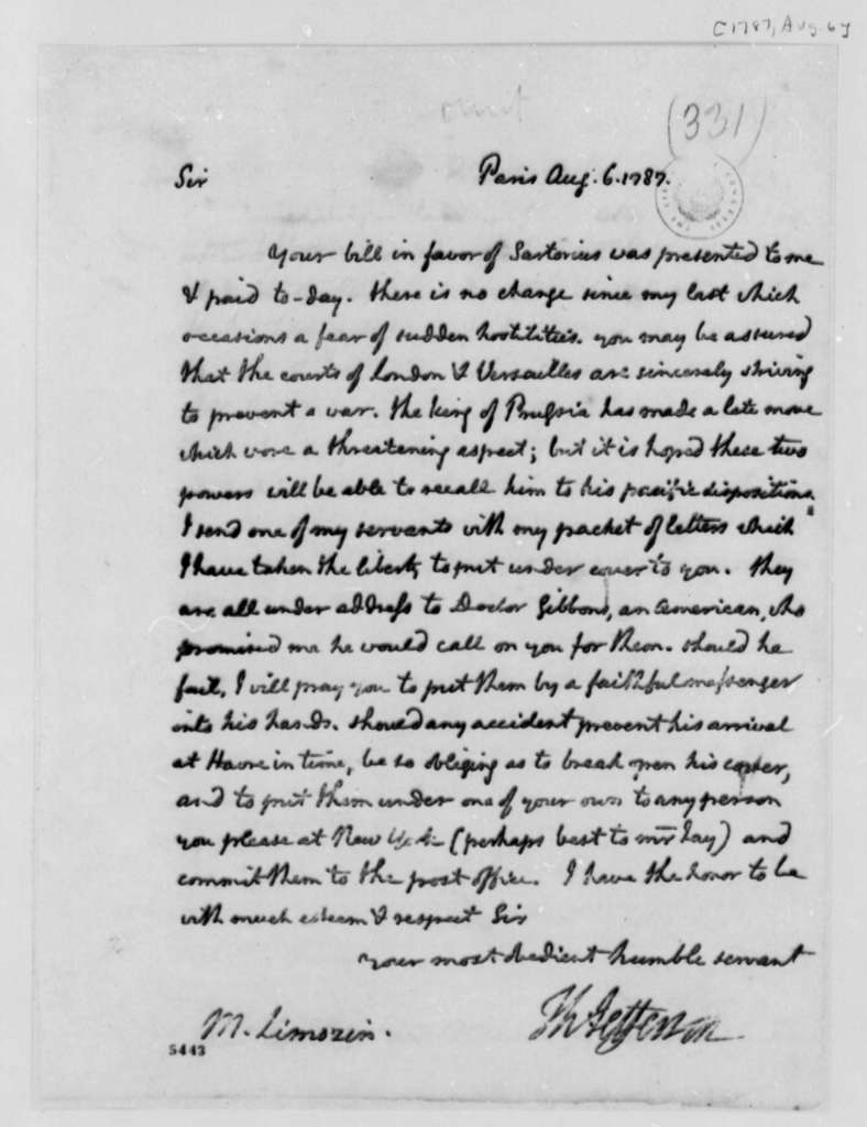 Thomas Jefferson to Andre Limozin, August 6, 1787