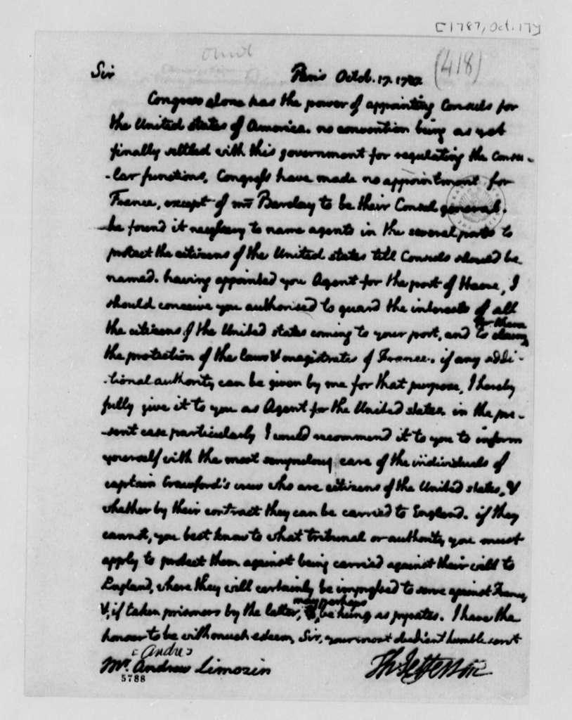 Thomas Jefferson to Andre Limozin, October 17, 1787
