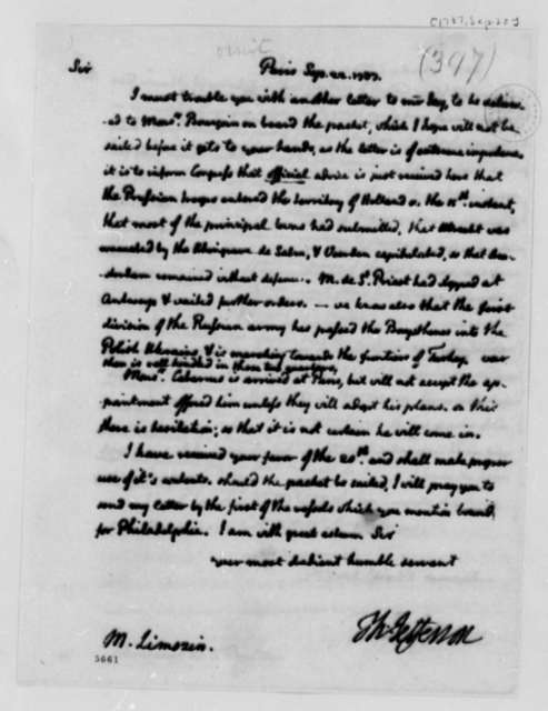 Thomas Jefferson to Andre Limozin, September 22, 1787, two same date; Prussian and Russian Military Advances
