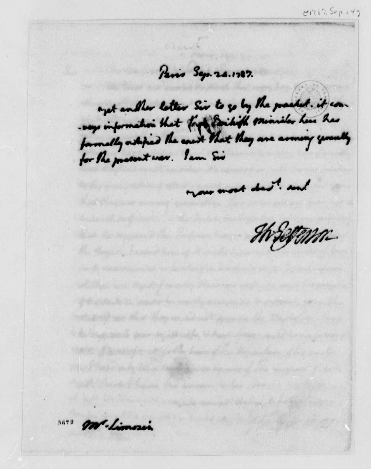Thomas Jefferson to Andre Limozin, September 24, 1787