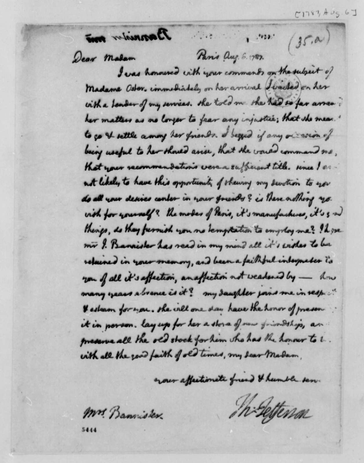 Thomas Jefferson to Anne Blair Banister, August 6, 1787