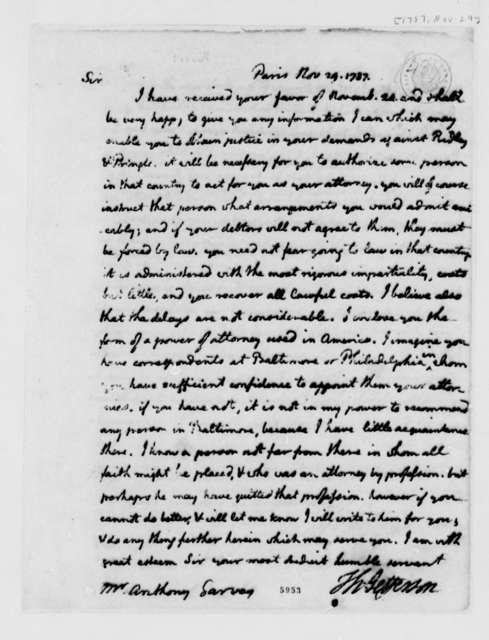 Thomas Jefferson to Anthony Garvey, November 29, 1787