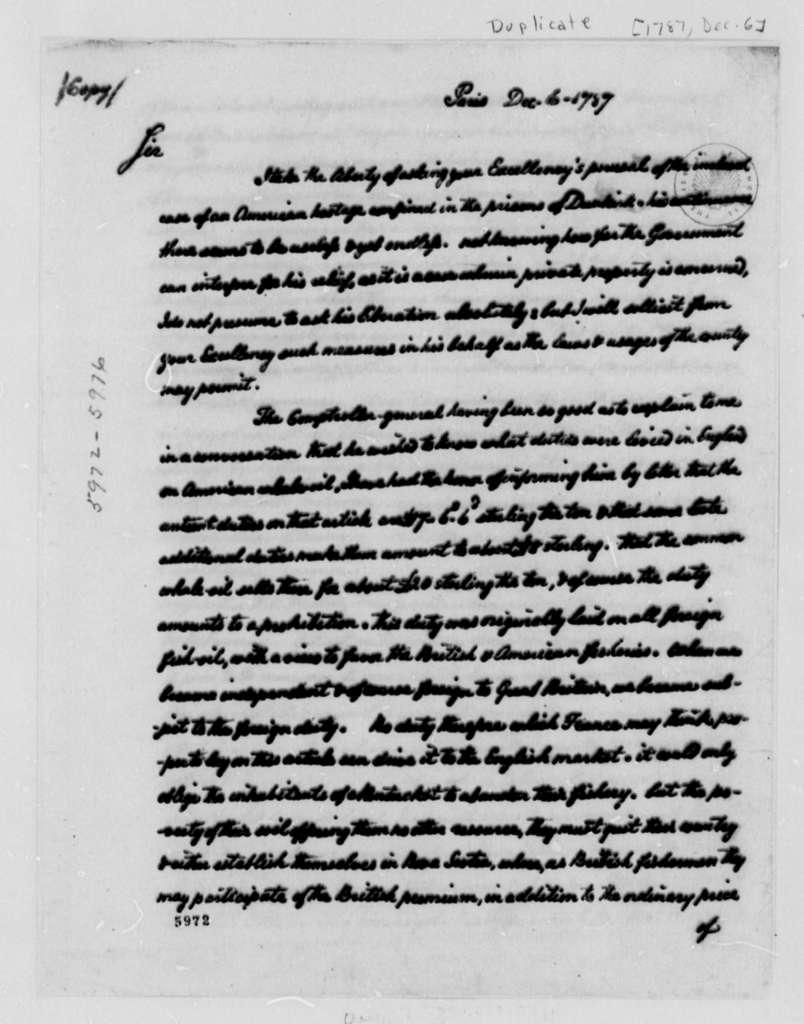 Thomas Jefferson to Armand-Marc, Comte de Montmorin-Saint-Herem, December 6, 1787, Memorandum on Alexander Gross Enclosed, same date; with Two Copies