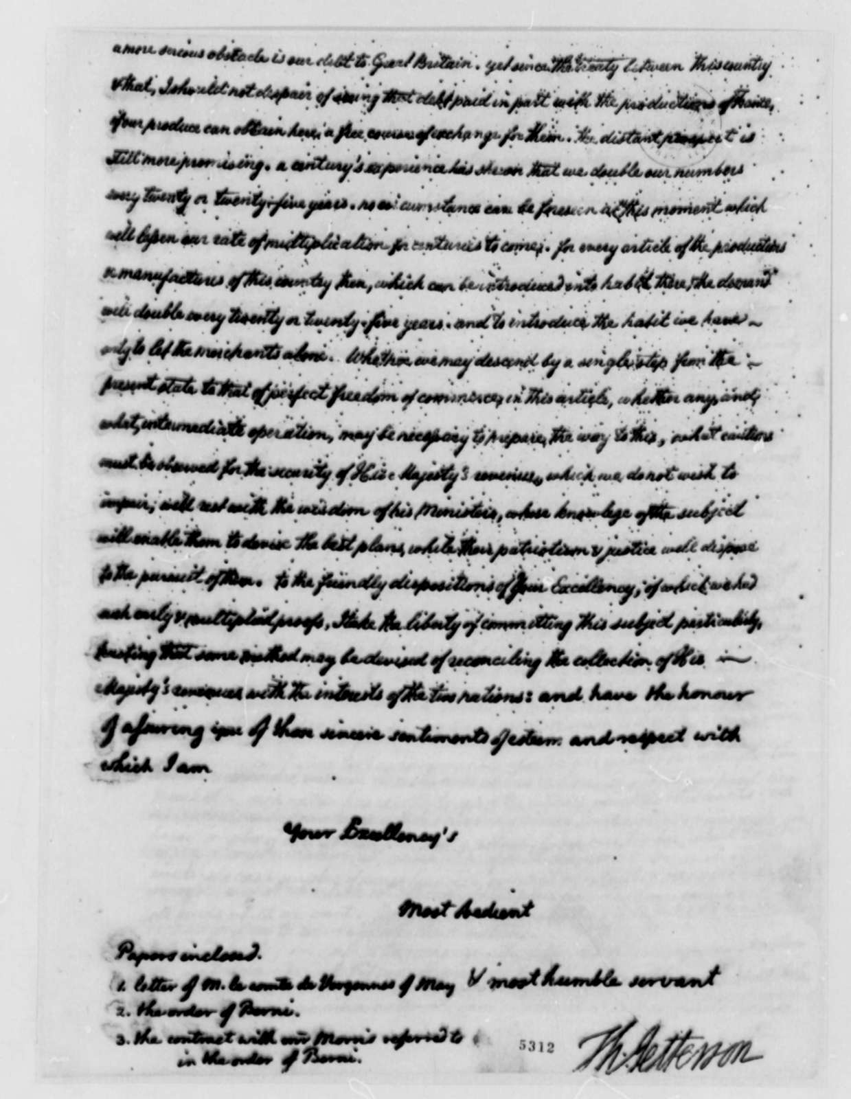 Thomas Jefferson to Armand-Marc, Comte de Montmorin-Saint-Herem, July 23, 1787, Tobacco Trade; Copy in English and Translation in French
