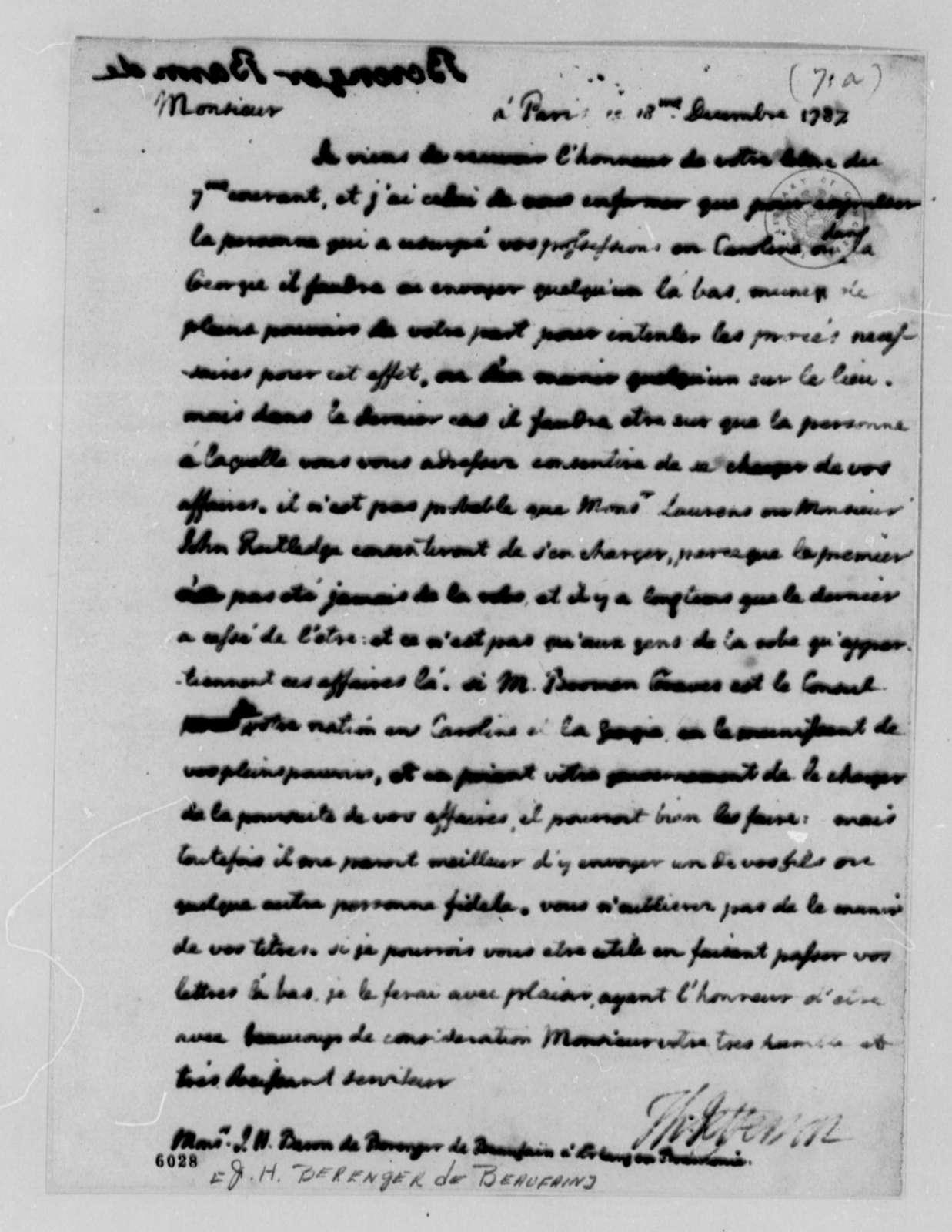 Thomas Jefferson to Baron de Berenger de Beaufain, December 18, 1787, Estate of Hector de Berenger de Beaufain in South Carolina; in French