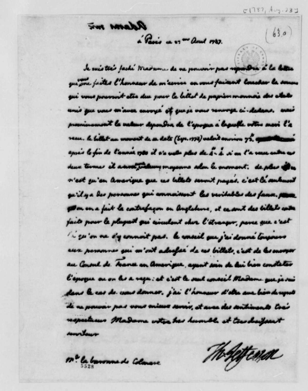Thomas Jefferson to Baroness de Colmare, August 23, 1787, in French