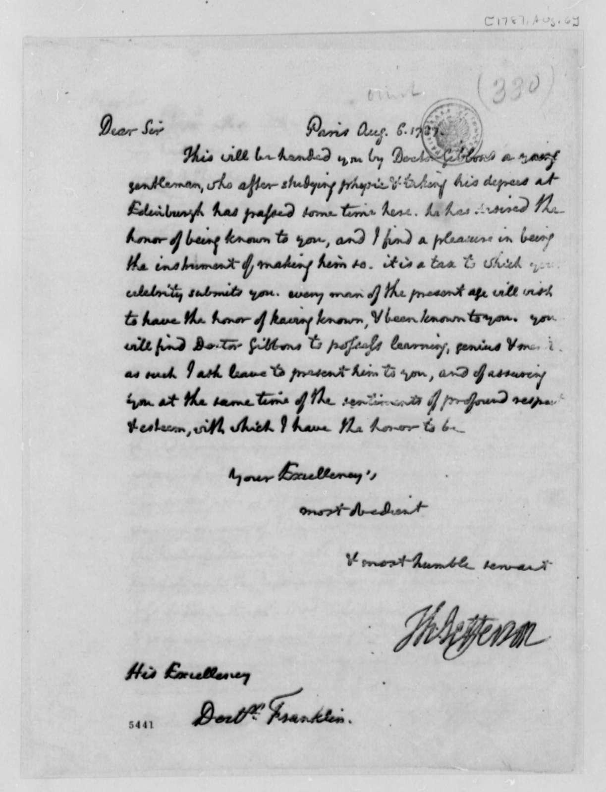 Thomas Jefferson to Benjamin Franklin, August 6, 1787