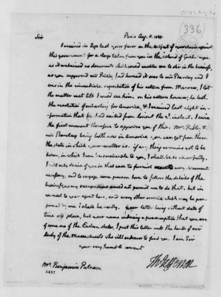 Thomas Jefferson to Benjamin Putnam, August 8, 1787, Maritime Law Case