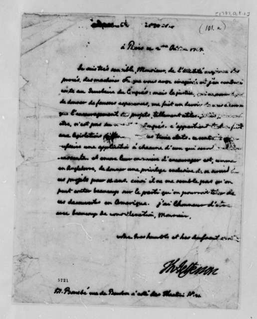 Thomas Jefferson to Bouebe, October 2, 1787, in French