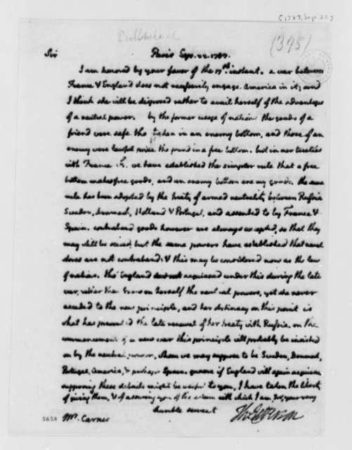 Thomas Jefferson to Burrill Carnes, September 22, 1787
