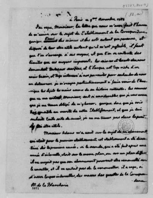 Thomas Jefferson to C. P. C. la Blancherie, November 9, 1787, in French