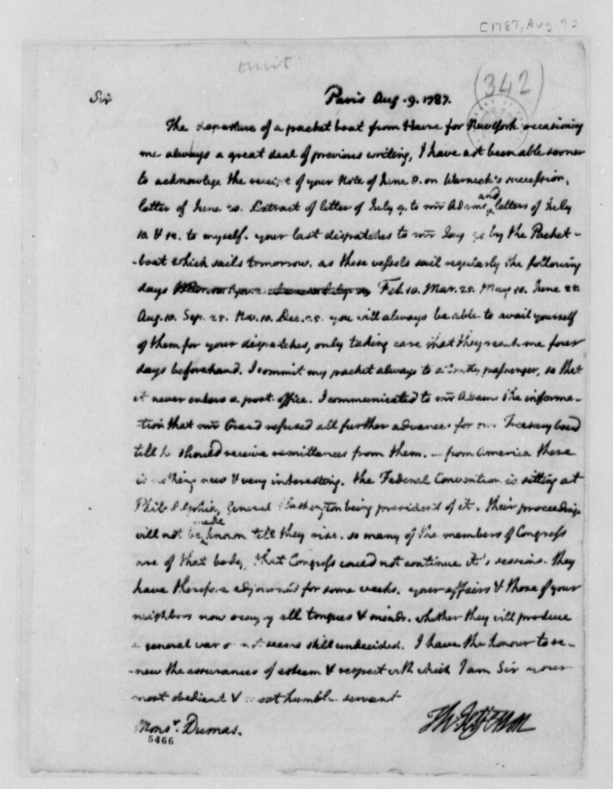 Thomas Jefferson to Charles William Frederic Dumas, August 9, 1787