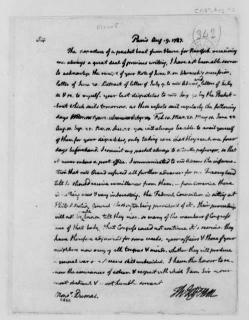Thomas Jefferson to Charles William Frederic Dumas, August 9, 1787