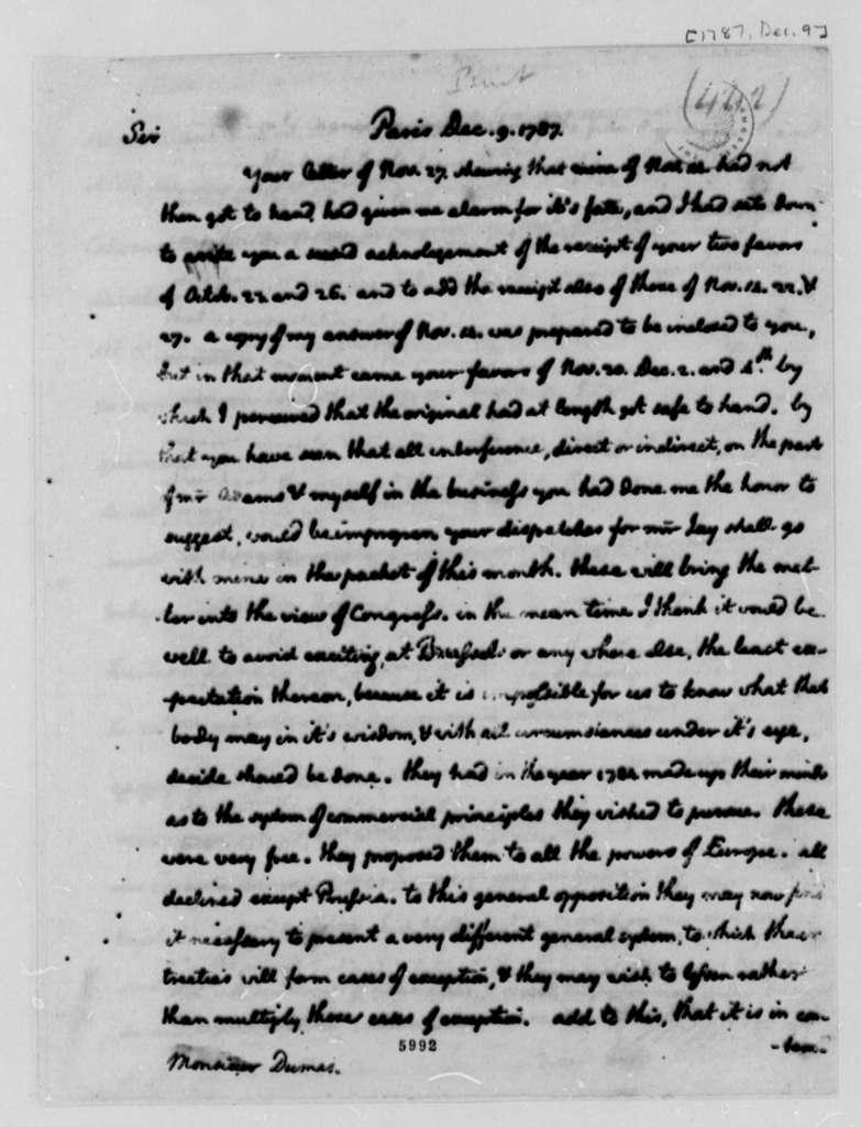 Thomas Jefferson to Charles William Frederic Dumas, December 9, 1787, with Copy