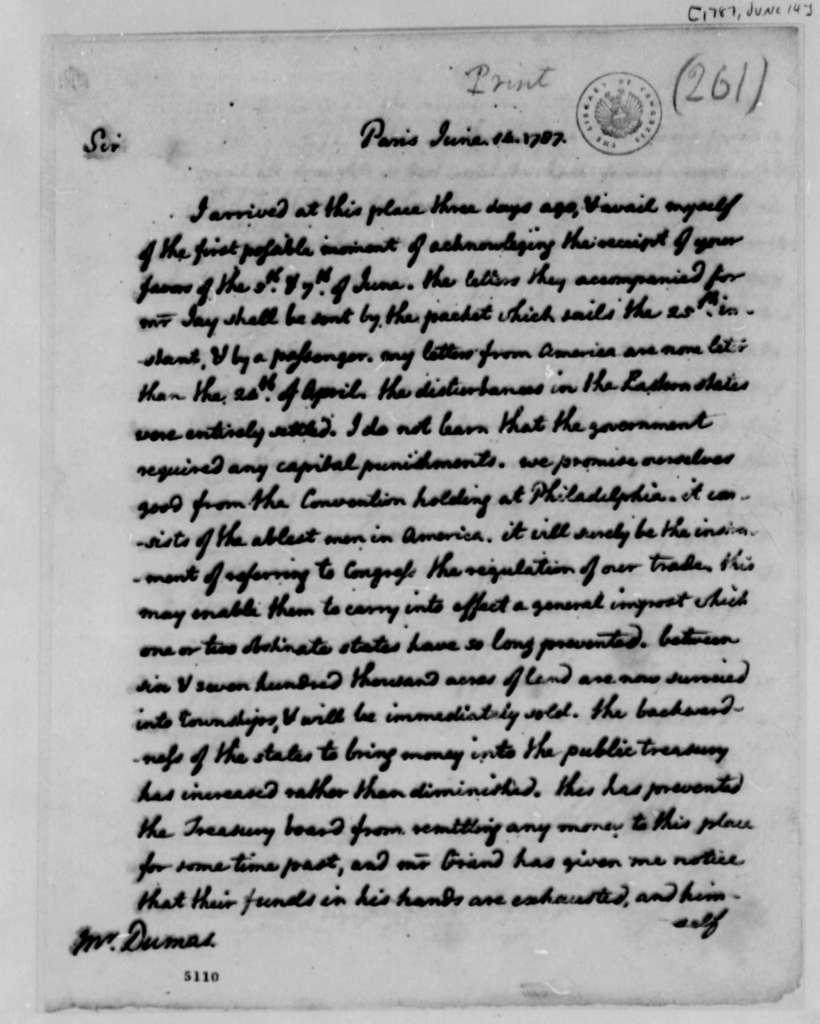 Thomas Jefferson to Charles William Frederic Dumas, June 14, 1787