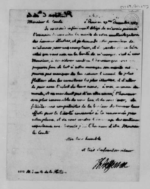 Thomas Jefferson to Count de la Platiere, December 27, 1787, in French