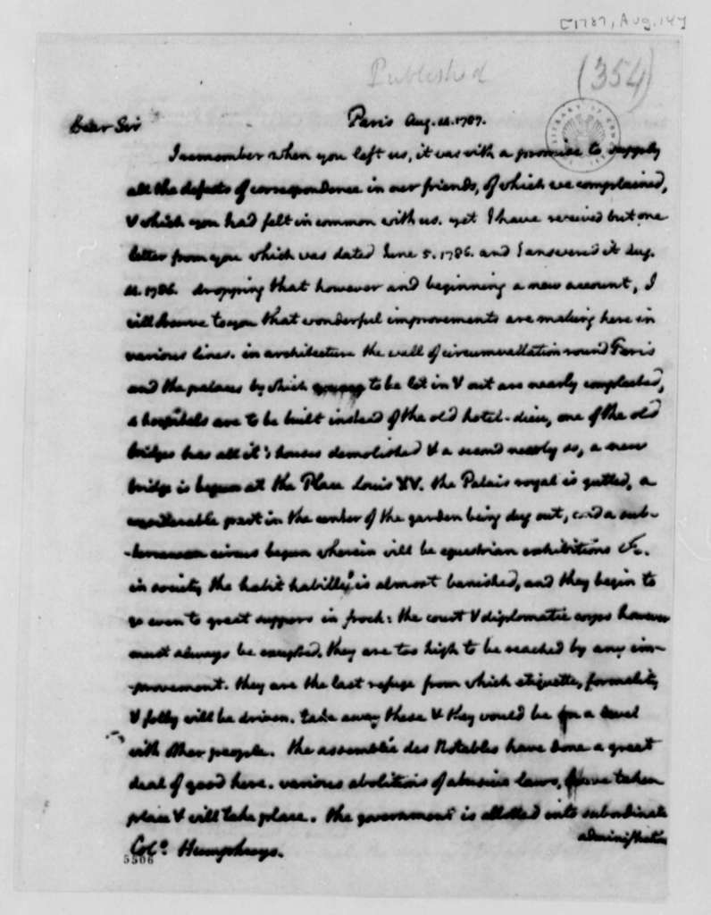Thomas Jefferson to David Humphreys, August 14, 1787