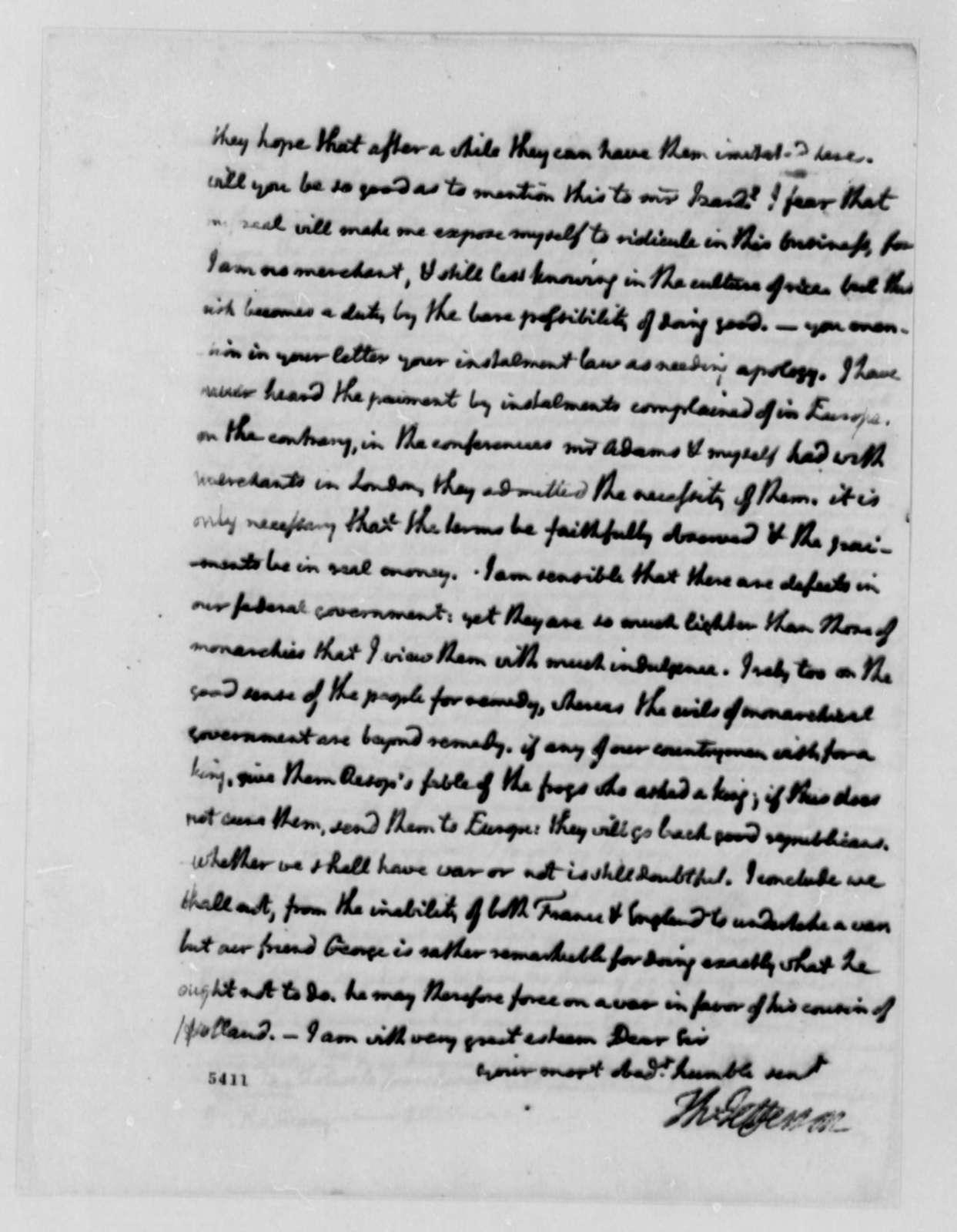 Thomas Jefferson to David Ramsay, August 4, 1787