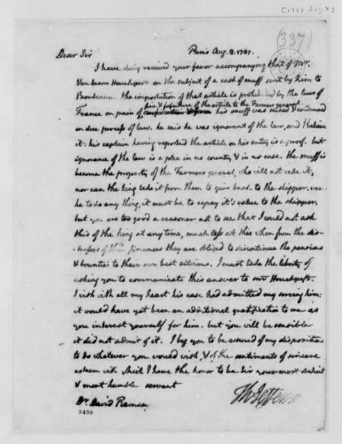 Thomas Jefferson to David Ramsay, August 8, 1787