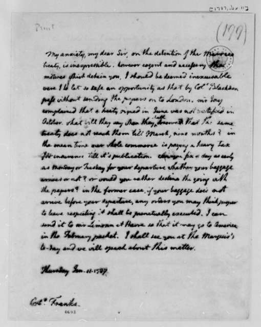 Thomas Jefferson to David S. Franks, January 11, 1787