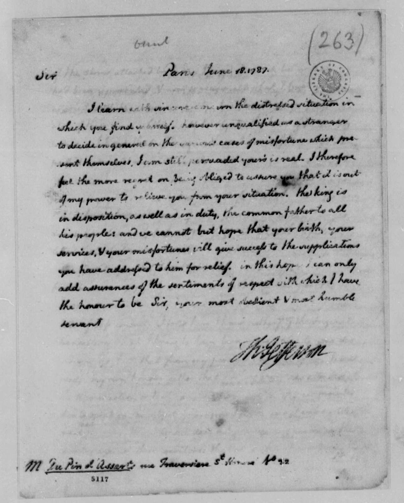 Thomas Jefferson to du Pin d'Assarts, June 18, 1787