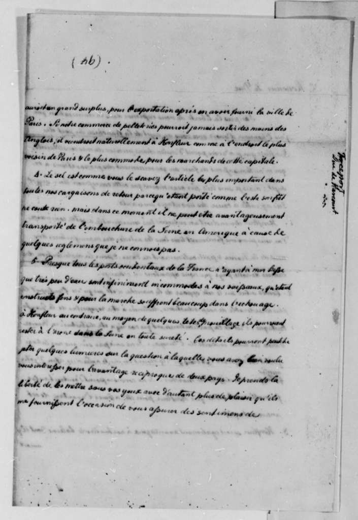 Thomas Jefferson to Duke d'Harcourt, January 14, 1787, in French with English Translation