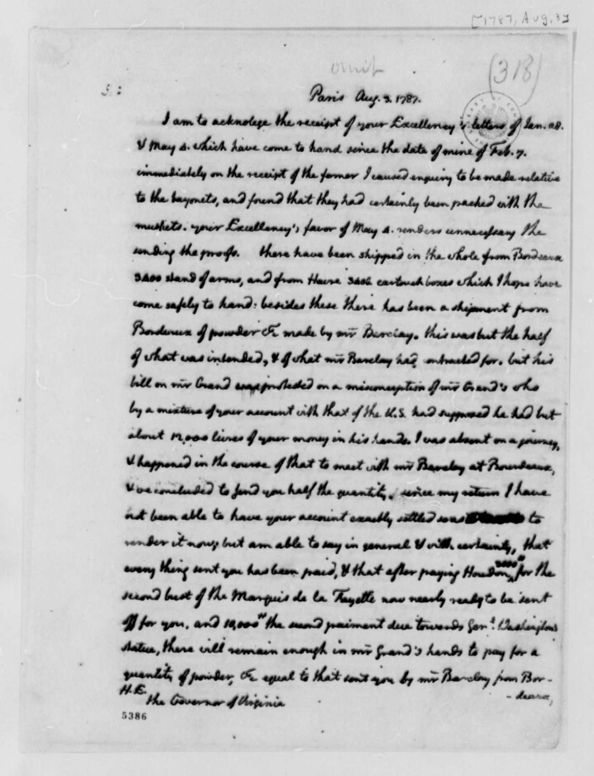 Thomas Jefferson to Edmund Randolph, August 3, 1787, two same date; Order for Arms and Ammunition