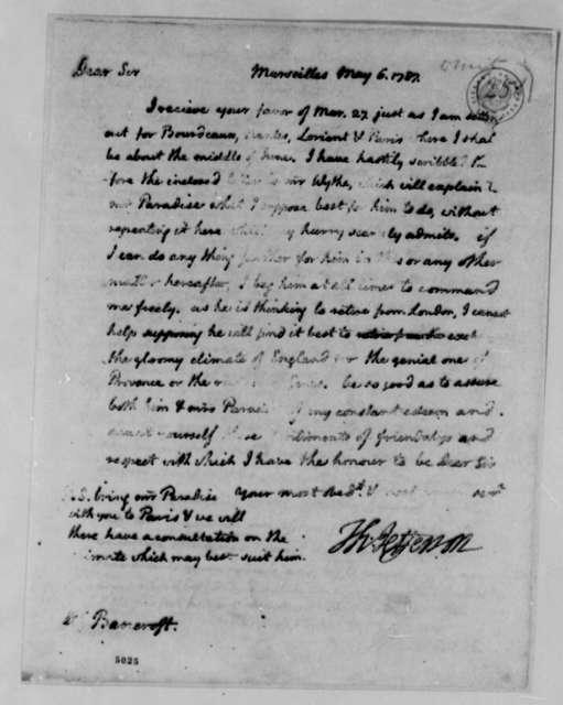 Thomas Jefferson to Edward Bancroft, May 6, 1787