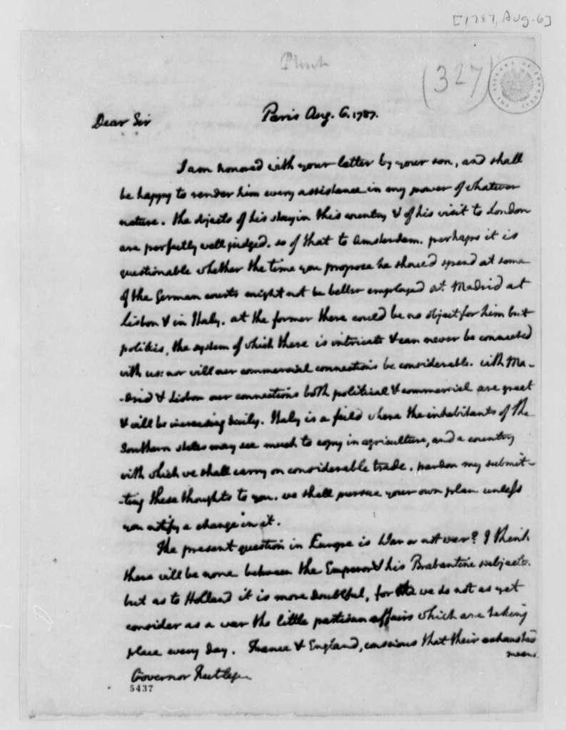 Thomas Jefferson to Edward Rutledge, August 6, 1787