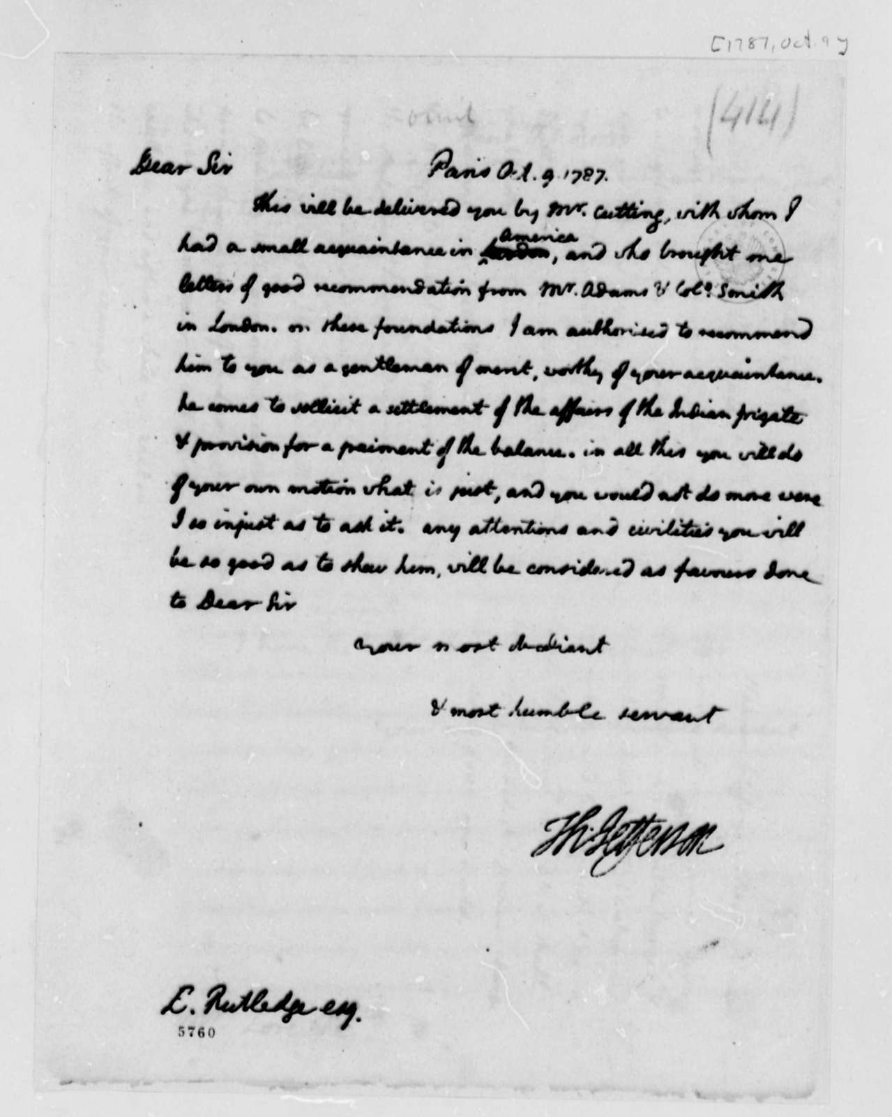 Thomas Jefferson to Edward Rutledge, October 9, 1787