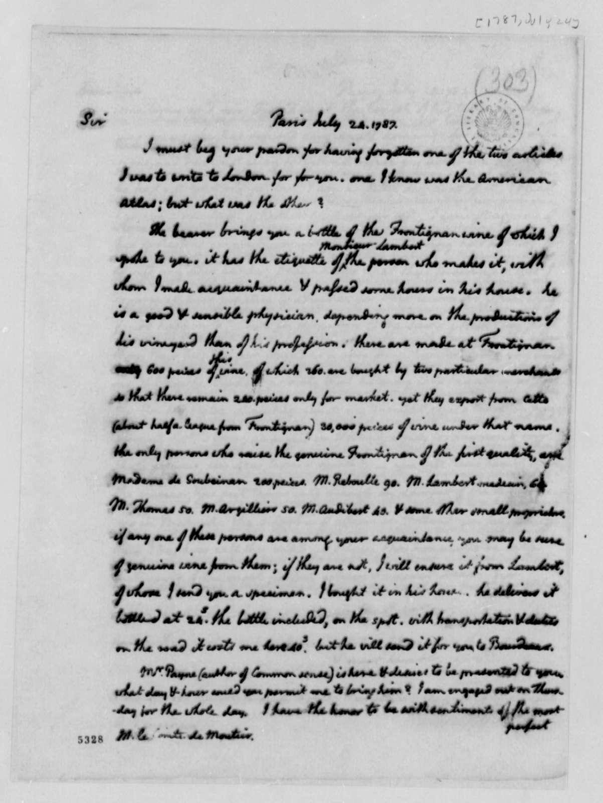 Thomas Jefferson to Eleonore Francois Elie, Comte de Moustier, July 24, 1787