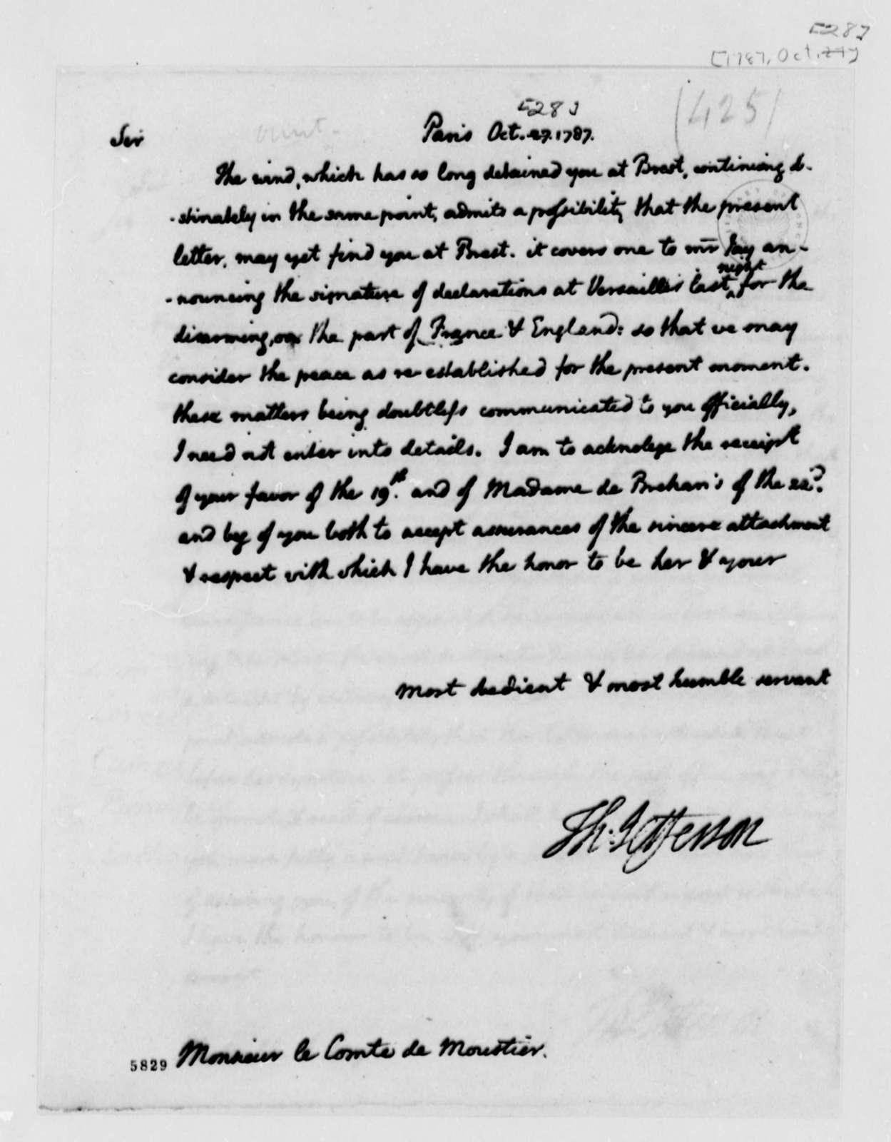 Thomas Jefferson to Eleonore Francois Elie, Comte de Moustier, October 28, 1787
