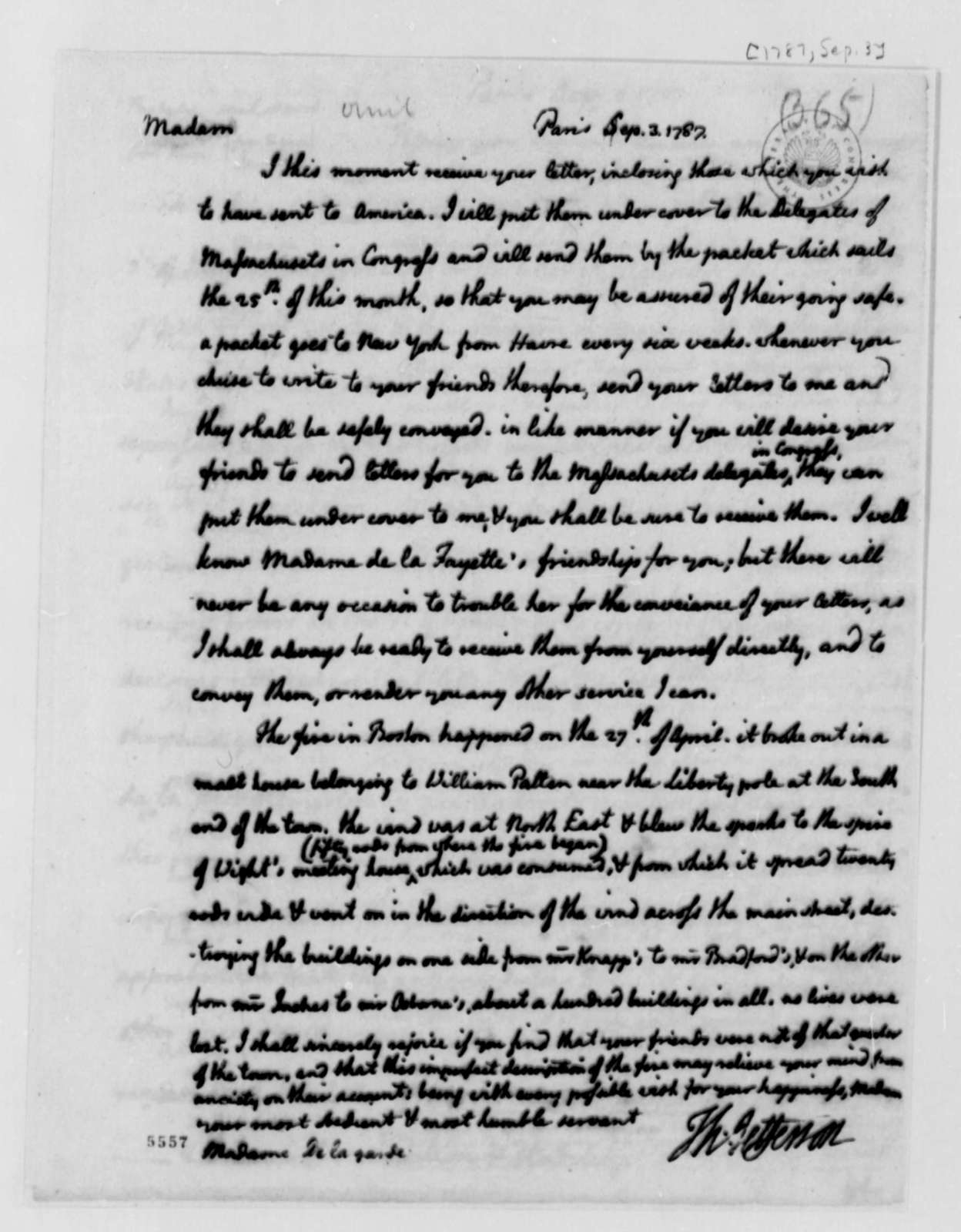 Thomas Jefferson to Fanny Delagarde, September 3, 1787