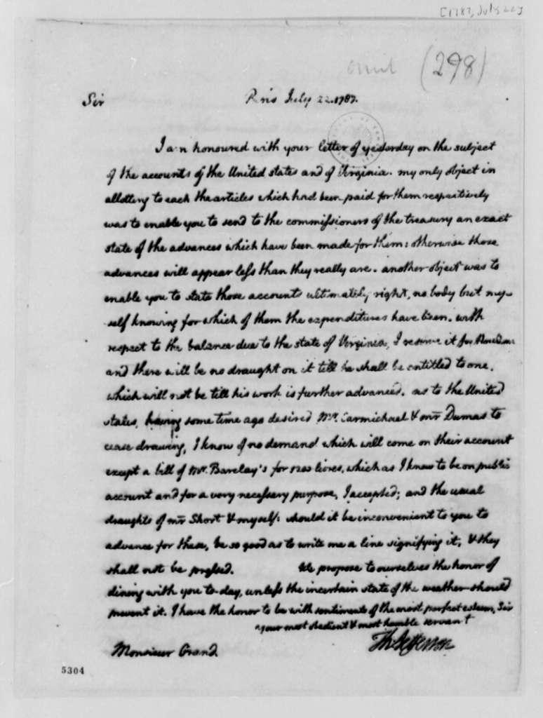 Thomas Jefferson to Ferdinand Grand, July 22, 1787, Financial Accounts